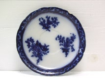Touraine Flow Blue Saucer. 19th C. Flow Blue With Gold Luster. Henry Alcock. Stanley Pottery.
