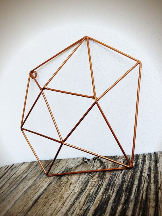 Geometric Metal Wall Art bold 3d geometric metal crystal wall art // metallic copper //