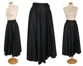 SALE - 20% Yves Saint Laurent 1970s Vintage Avantgarde Wrap Skirt Midi Skirt Black Cotton US Size 6 Small