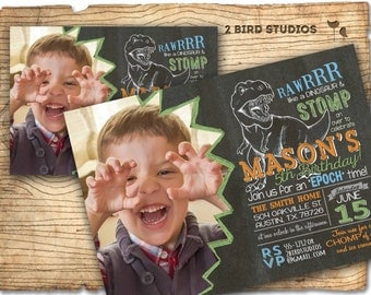 Dinosaur invitation - Dinosaur birthday invitation for dinosaur birthday party - dinosaur dig - Chalkboard Dinosaur party invite - you print