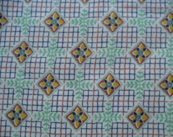 Feedsack Fabric from the 1930's 100% Vintage Feedsack Feed Sack Scrap Cotton Green Navy Yellow Brown