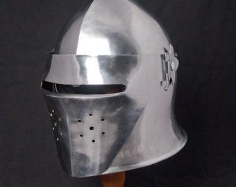 Italian barbuta helmet with visor; SCA Reenactment Helm; Medieval Helm