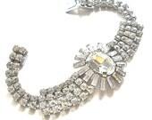 Crystal Rhinestone Bracelet  Vintage Runway JULIANA style  c1950