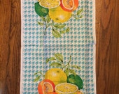 Tea Towel citrus fruit gingham Florida California retro summer kitchen cottage boho style