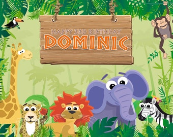 Jungle Safari Themed Party Backdrop - .JPEG File Only - YOU PRINT