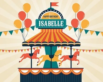 Circus / Carnival / Carousel Themed Party Backdrop - JPEG File Only - YOU PRINT