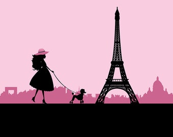 Printable Pink Paris Girl with Poodle Backdrop - Digital File Only INSTANT DOWNLOAD - You Print