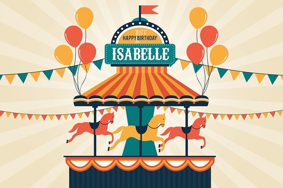circus carnival carousel themed party backdrop jpeg file only