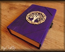 Diary or Book of Shadows VIOLET TREE of LIFE with lock - different colors and customizable - medium size 8,67x5,91 inch (22x15 cm)