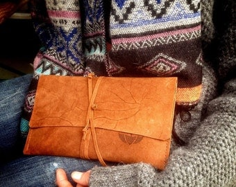 Maroni purse, natural sun-tanned suede, genuine leather wallet.