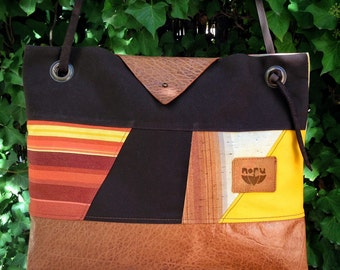 Norin bag, recycled canvas and leather shoulder bag, rust brown, brown, yellow.