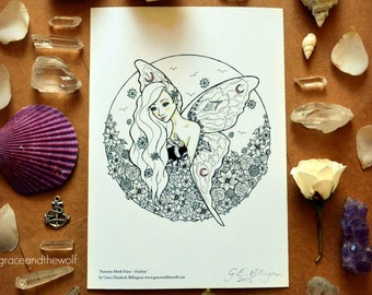 """SALE Giclee Art Print, """"Autumn Moth Fairy - Outline"""" by Grace and the Wolf, A5, 5.83 x 8.27 inches, Somerset Photo 300gsm, original drawing"""