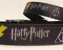 Harry Potter Dog Collar- Harry Potter Ribbon Collar-Deathly Hallows-Wizardry & Magical-Hufflepuff-Harry Potter Collar and Leash Sets