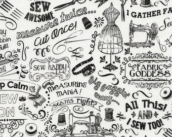 Sewing Chalk Words from Sewing and Knitting Novelties for Timeless Treasures