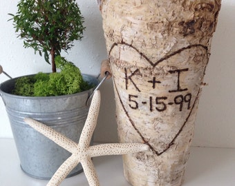 "Anniversary Gift Personalized Birch Bark Vase | Tall Rustic 9"" Vase 