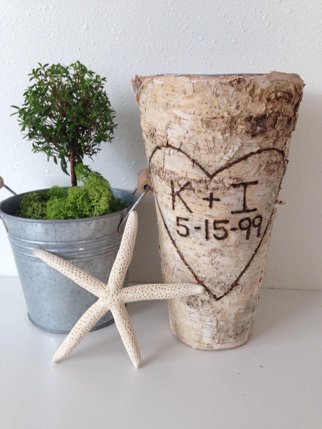 Anniversary Gift Personalized Birch Bark Vase Tall Rustic