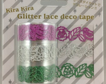 Sets of 3  Bird and Leaf Glittered Lace Deco Tape  (PN-2037-58) Price depends on order volume. Buy other items together for BETTER price.