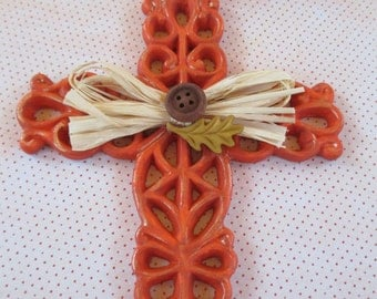 Hand Painted Harvest Cross, Fall, Autumn, Home Decor