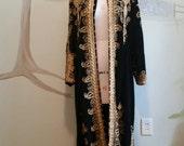 Vintage Black Velvet Gold Ornate Gypsy Moroccan Festival Jacket