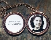 You Are My Sunshine Custom Photo Locket - Great Valentine's Day, Mother's Day, Grandmother, Best Friend, Anniversary, Sister gift