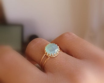 SALE - Aqua chalcedony ring - Aqua blue Chalcedony ring - Gold aqua ring - Gemstone ring - Aqua Mint Gold Ring - mint color ring