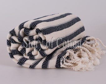 Extra HIGH Quality Hamam towel beach towel hammam peshtemal Turkish Towel ZEBRA Navy