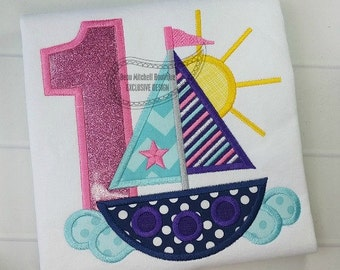 Girly Sailboat Birthday Applique shirt - Customizable -  Infant to Youth 21