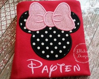 Girl Mouse Custom embroidered Disney Inspired Vacation Shirts for the Family! 828