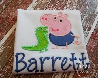 Peppa George Birthday Custom Tee Shirt - Customizable -  Infant to Youth 103