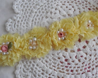 """6 Light Yellow Shabby Chic Pearl and Flower Rosettes 2.5"""""""
