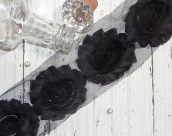 "1 Yard Chiffon Shabby Rose Trim Black 2.5"""