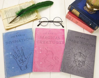 Second Edition Magic Notebook Set  - Set of Three Magical Creatures, Divination, Dark Magic A5 Notebooks - Witches & Wizards - Stationery