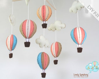 DIY peach and blue baby mobile kit - DIY peach and blue baby crib mobile - DIY hot air balloons baby mobile
