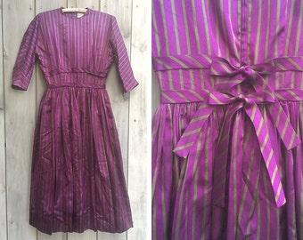 Vintage dress | 1950s Anne Fogarty Margot Inc. purple / green striped taffeta silk dress with double bow tie