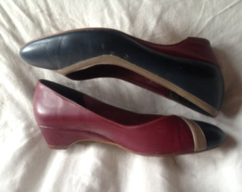 Vintage shoes | Funky two-tone navy burgundy gray 80s Naturalizer low heel flats