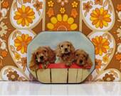 Vintage Tin Cute Dogs Spaniel Kitsch Fillerys Toffee Tin
