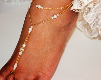 Barefoot Sandal Bridesmaid Gift Beach Jewelry Pearl Thong ONE PAIR
