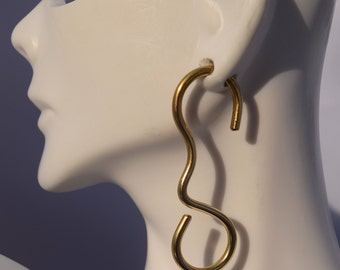 10 Gauge Brass Freeform Earrings