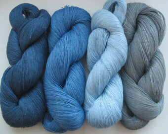 Linen Yarn grey blue azure 400 gr (14 oz ), Cobweb / 1 ply, each hank contains approximately 3000 yds