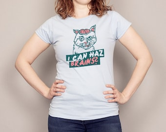 I Can Haz Brains Funny Zombie Cat T-shirt