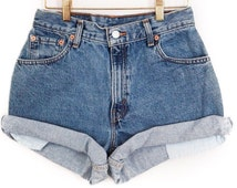 Denim High Waisted Shorts Cut off rolled All Sizes, ALL BRANDS, Levis, Guess, Lee, Wrangler, CK, Rustler etc High Rise Plus Size