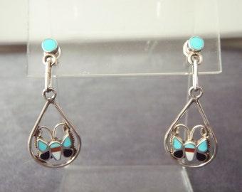 Sterling Silver Inlay Butterfly Post Earrings E59