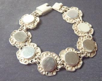 Sterling Silver Flower Disk Bracelet B23