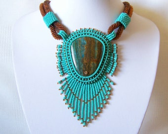 Bead Embroidery Necklace Pendant Beadwork with Blue Lace Chalcedony - Statement necklace - TURQUOISE DAY - turquoise - brown