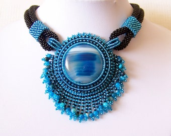 Statement Beadwork Bead Embroidery Pendant Necklace with Agate - ''WATER WHISPER'' - Summer fashion - blue and black colors