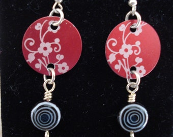 Flowers, Swirls in this Mod Set of Earrings