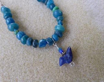 Bluebird on a  Vintage Bead Chain