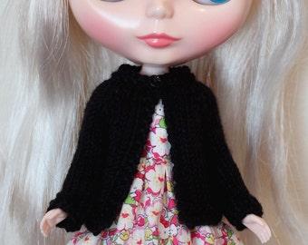 BLYTHE doll hand knit wool cardigan sweater - basic black w/ button choice