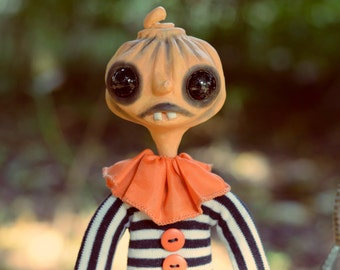 OOAK Halloween Pumpkin Art Doll - Pumpkin Underling - Doll Artist Cheryl Austin