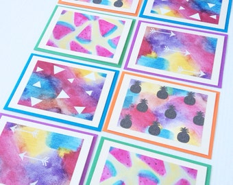 Watercolours Greeting Cards, Blank, set of 8